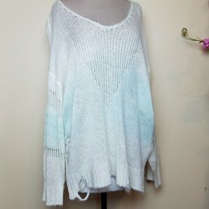 Wildfox Blue white Ombre Distressed Sweater Jumper